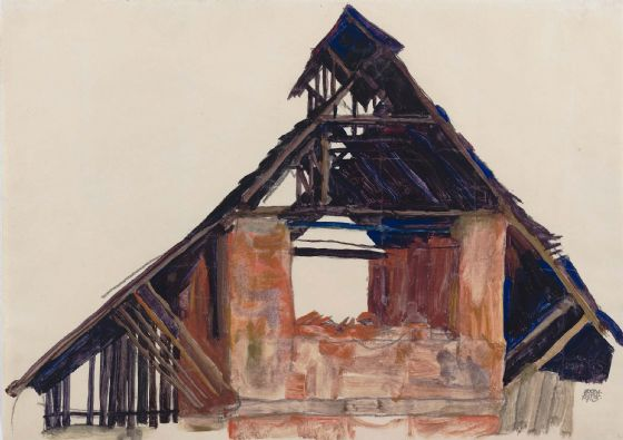 Schiele, Egon: Old Gable. Fine Art Print/Poster. Sizes: A4/A3/A2/A1 (003699)